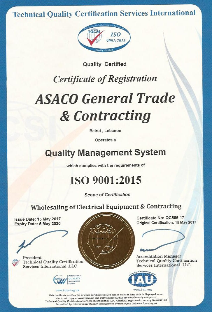 ASACO ISO Certificate 2015